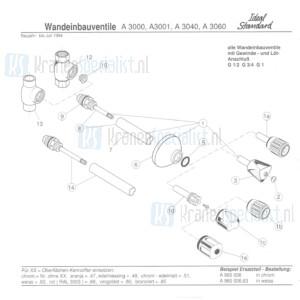 """Ideal Standard onderdelen Universeel 1/2"""" inbouwstopkraan A3000AA"""