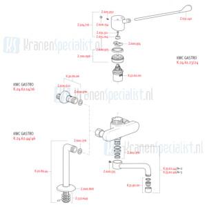 KWC onderdelen GASTRO 2-gats Keukenmengkraan met verlengde hendel K.24.62.44 / K.24.62.46