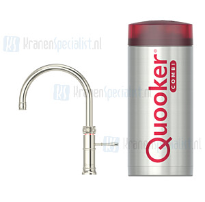Quooker Fusion Classic Round  3-in-1 kraan Zilver Nikkel incl Combi E 2200W boiler