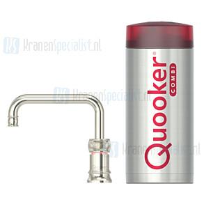 Quooker Nordic Classic Square Single Tap kraan Zilver Nikkel incl Combi E 2200W boiler