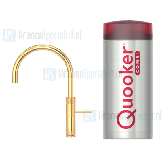 Quooker Fusion Round  3-in-1 kraan Goud incl Combi Plus E 2200W boiler