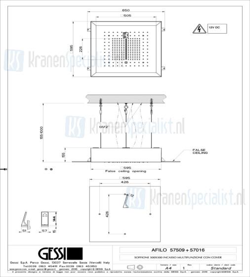 Gessi Afilo 500x500 ingebouwd multifunctioneel systeem met RAINFALL / WATERFALL / MIST-functie en chromotherapie-effect voor vals-plafondmontage. Elektronische onderdelen meegeleverd met waterdichte afstandsbediening en haak. Te matchen met 12V-voedi