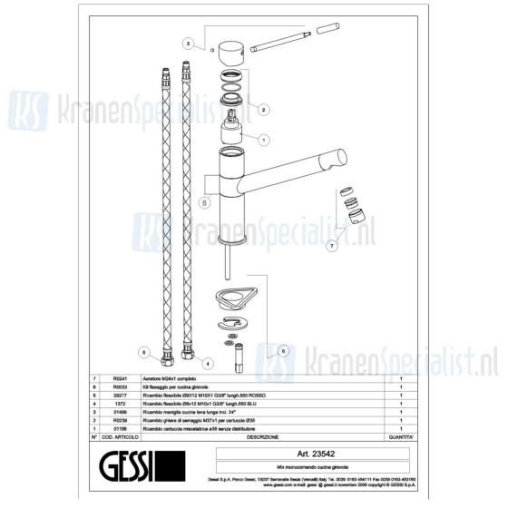 Gessi Onderdelen OXYGENE 1-gats Keukenkraan Artikelnummer 23542.031 / 23542.149