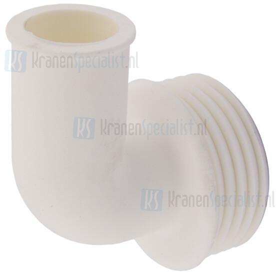 Valpijpsok tbv 28mm valpijp uitwendige aansluitdiameter 48mm haaks model rubber wit