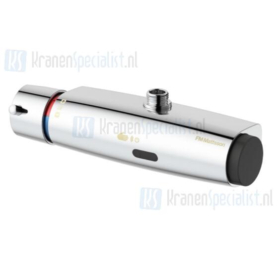 FM Mattsson Tronic elektronische douchethermostaat wandmontage met 1/2 boven aansluiting chroom