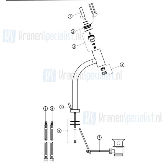 Gessi Onderdelen Font 1-gats wastafelkraan joystick verhoogd m. waste Chroom / Inox 14204.031 / 14204.142