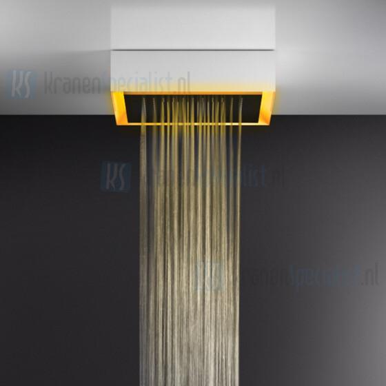 Gessi Afilo 500x500 vrijstaand douchesysteem met RAINFALL-functie en chromotherapie-effect voor plafond- / vals plafondmontage met wit frame. Elektronische onderdelen meegeleverd met waterdichte afstandsbediening en haak. Te matchen met 12V-voeding n