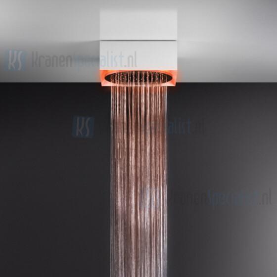 Gessi Afilo ?350 vrijstaand douchesysteem met RAINFALL-functie en chromotherapie-effect voor plafond- / vals plafondmontage met wit frame. Elektronische onderdelen meegeleverd met waterdichte afstandsbediening en haak. Te matchen met 12V-voeding niet