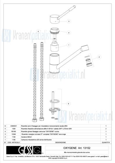 Gessi Onderdelen OXYGENE 1-gats Keukenkraan Artikelnummer 13152.031 / 13152.149