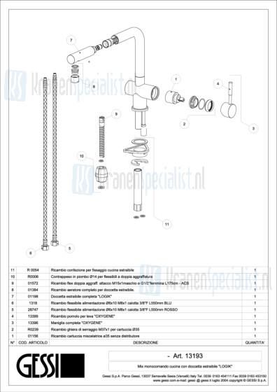 Gessi Onderdelen OXYGENE 1-gats Keukenkraan Artikelnummer 13193.031 / 13193.149