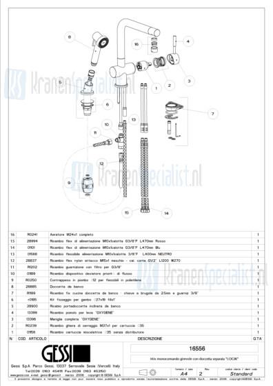 Gessi Onderdelen OXYGENE 2-gats Keukenkraan Artikelnummer 16556.031 / 16556.149