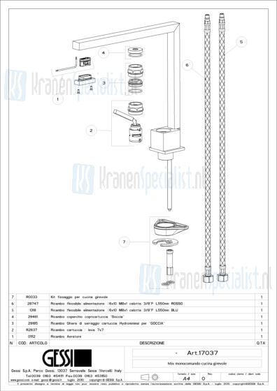 Gessi Onderdelen MINIMO 1-gats Keukenkraan Artikelnummer 17037.031 / 17037.149
