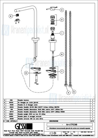 Gessi Onderdelen MINIMO T 2-gats Keukenkraan Artikelnummer 17038.031 / 17038.149