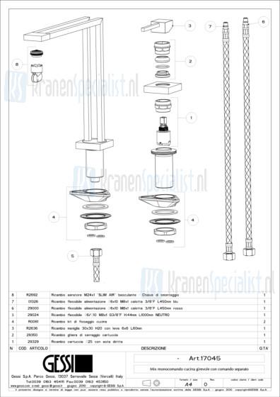 Gessi Onderdelen DUPLICE 2-gats Keukenkraan Artikelnummer 17045.031 / 17045.149