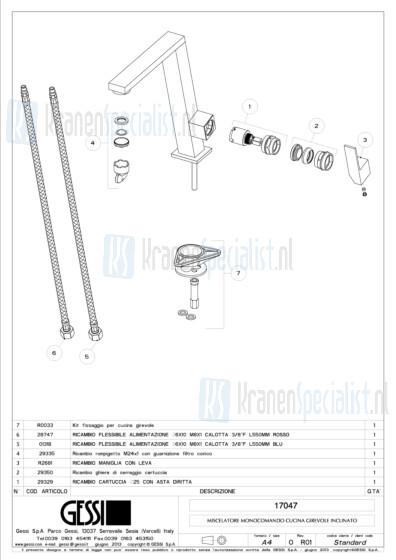 Gessi Onderdelen INCLINE 1-gats Keukenkraan Artikelnummer 17047.031 / 17047.149