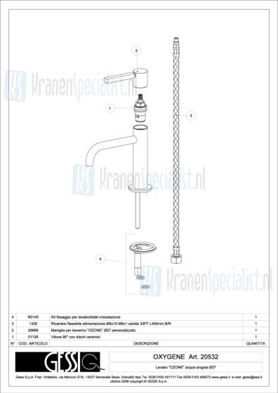 Gessi Onderdelen OXYGENE 1-gats Fonteinkraan Artikelnummer 20532.031 / 20532.149
