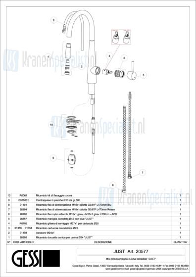 Gessi Onderdelen JUST 1-gats Keukenkraan Artikelnummer 20577.031 / 20577.149