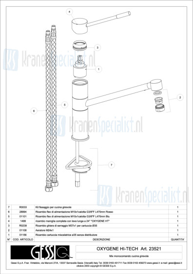 Gessi Onderdelen OXYGENE 1-gats Keukenkraan Artikelnummer 23521.031 / 23521.149
