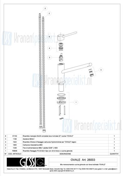 Gessi Onderdelen OVALE 1-gats Keukenkraan Artikelnummer 26003.031 / 26003.149