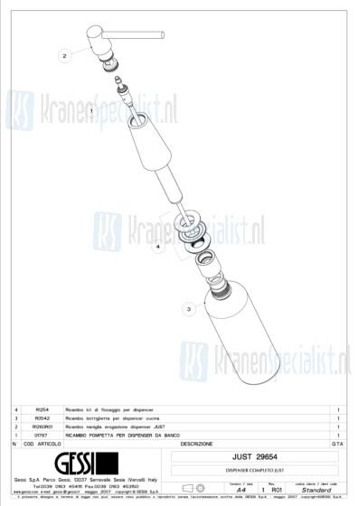 Gessi Onderdelen JUST 1-gats Zeeppomp Artikelnummer 29654.031 / 29654.149