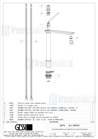 Gessi Onderdelen ISPA 1-gats Keukenkraan Artikelnummer 38510.031 / 38510.149