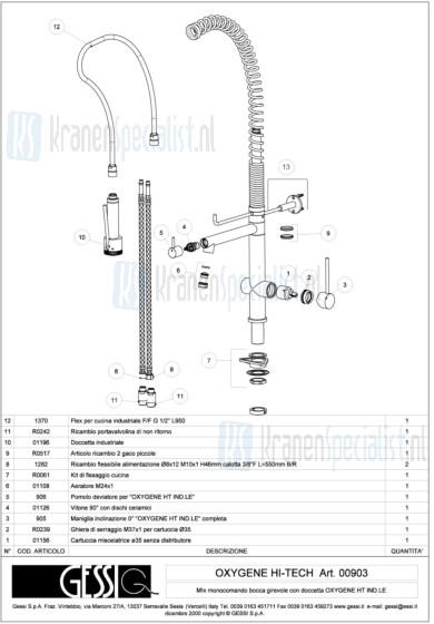 Gessi Onderdelen OXYGENE  HI TECH 1-gats Keukenkraan Artikelnummer 00903.031 / 00903.149